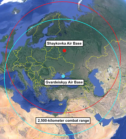 Deployment of Tu-22M3 Backfire bombers to Crimea would increase strike coverage of the southern parts of the Mediterranean Sea some compared with Backfires currently deployed at Shaykovka Air Base, but it would not provide additional reach of Western Europe.
