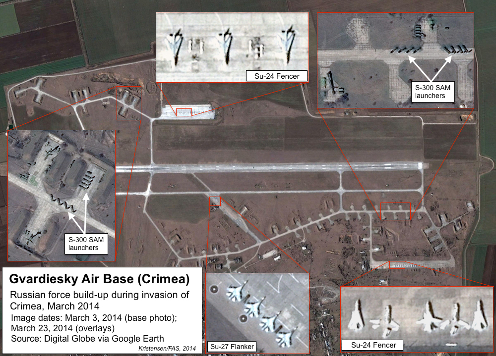 Two S-300 air defense units were deployed to Gvardiesky Air Base immediately after the Russian annexation of Crimea. The Russian Air Force moved Su-27 Flanker fighters in while retaining Su-24 Fencers (some of which are not operational). Click image to see full size.