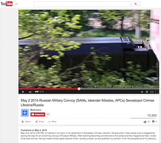 An amateur video posted on youtube reported Iskander ballistic missile launchers rolling through downtown Sevastopol. A closer look reveals that they were not Islander.