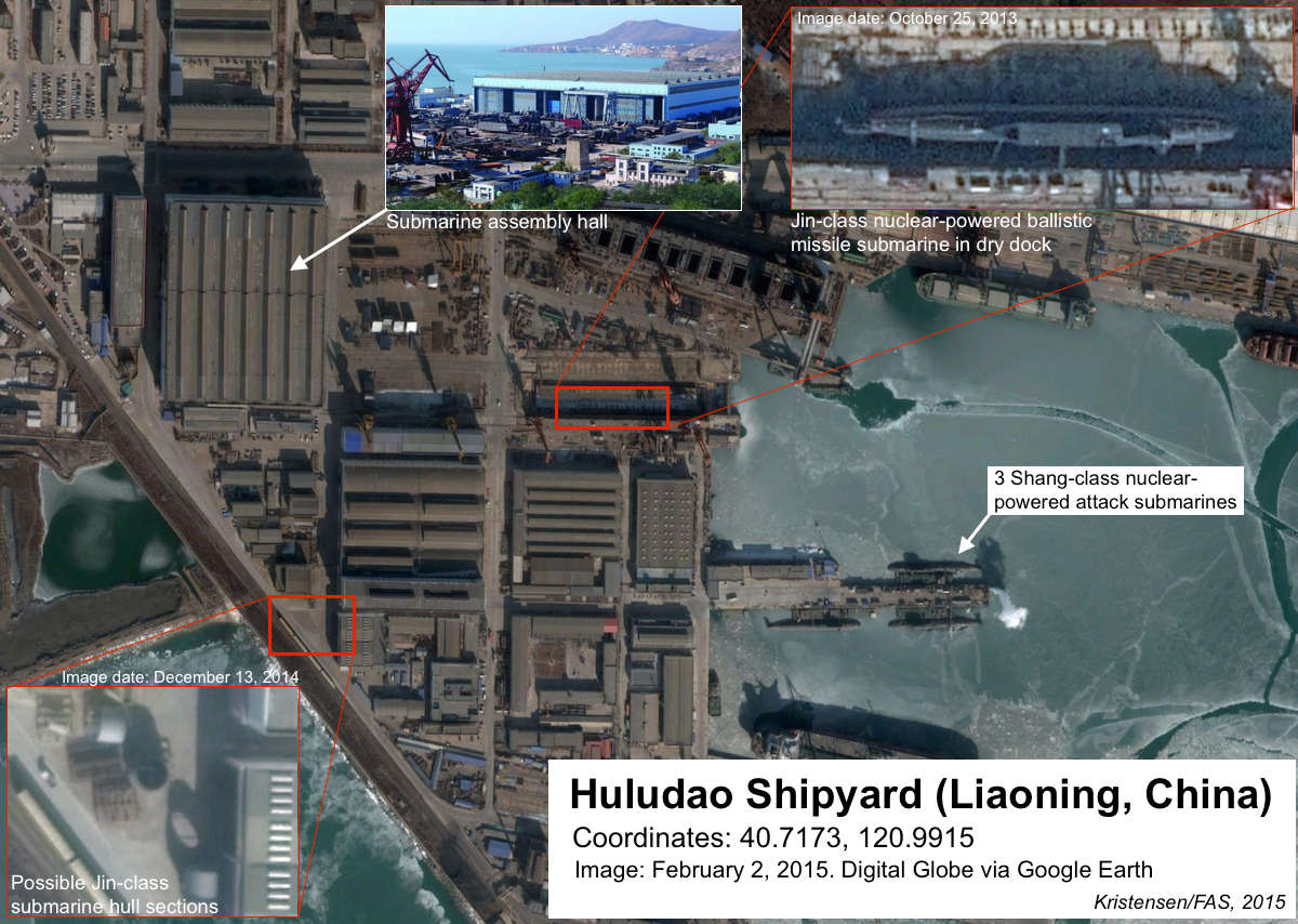 Although no Jin-class SSBN has been visible at Huludao shipyard on Google Earth since October 2013, possible Jin-class hull sections seen later indicate additional construction. Click on image to see full size.