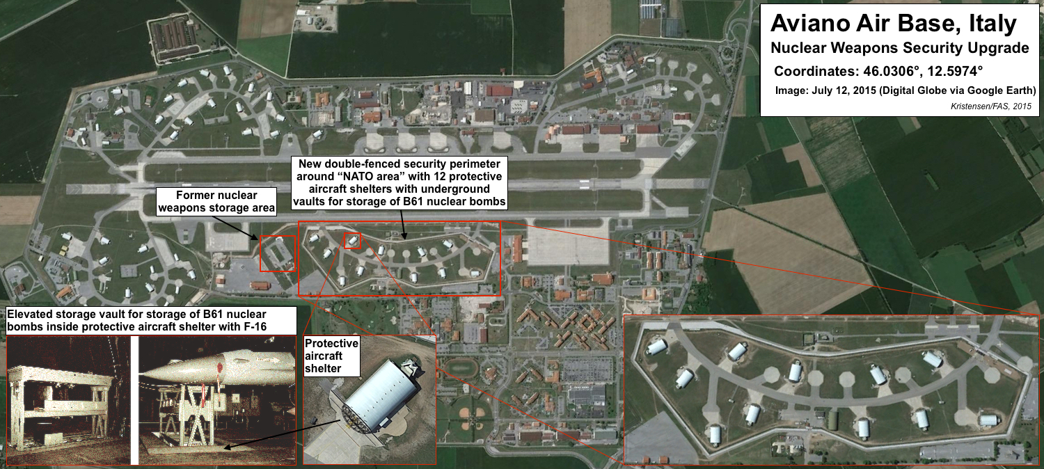 A nuclear security upgrade appears to be underway at the U.S. Air Base at Aviano  in Italy. Click on image to view full size.