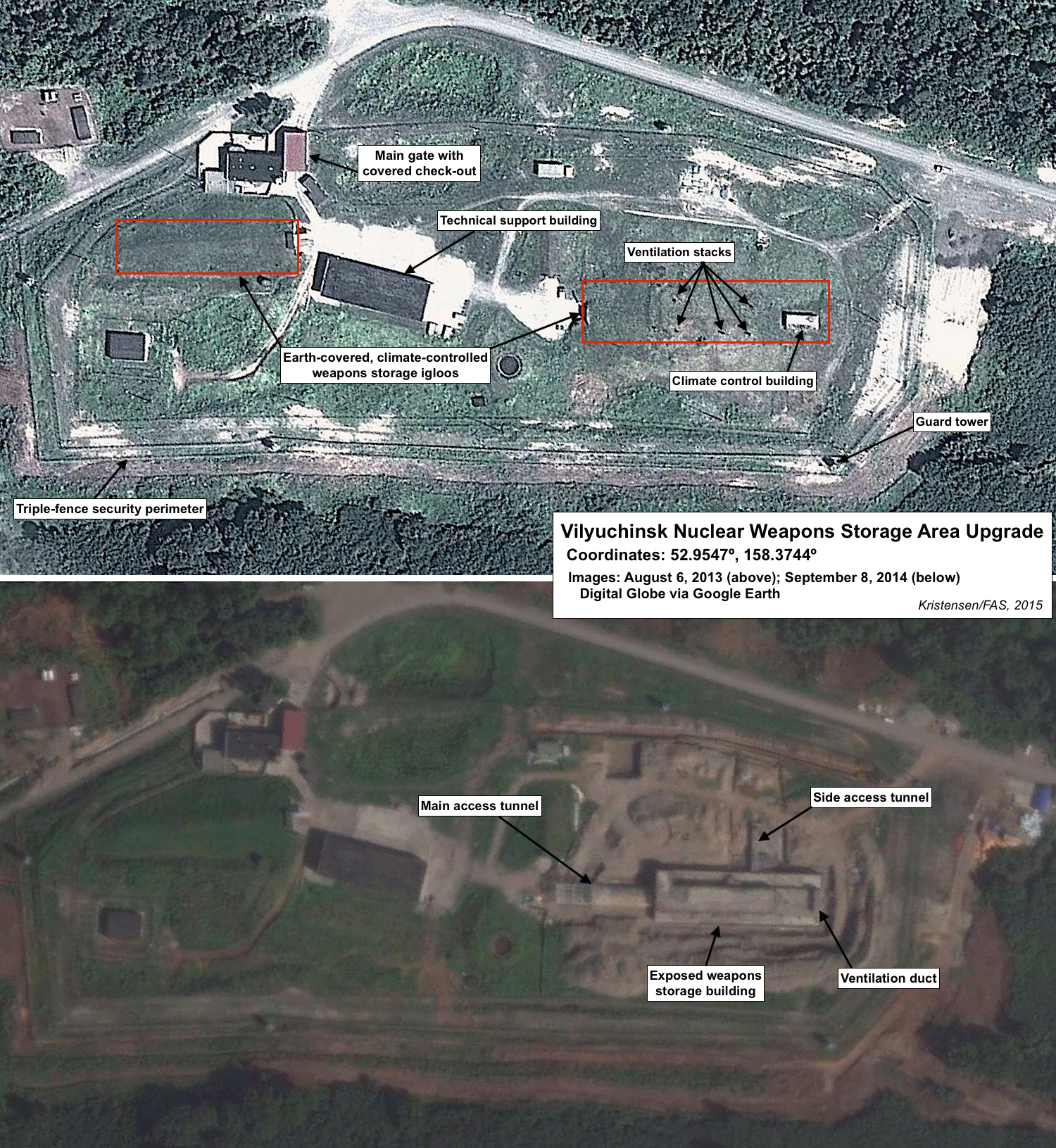 Upgrade of Vilyuchinsk nuclear weapons storage area. Click to see full size image.