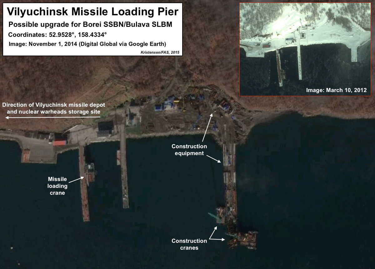 Upgrades of Vilyuchinsk missile loading piers. Click to see full size image.