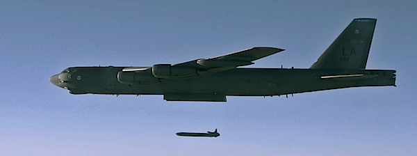 A USAF B-52H drops an unarmed nuclear air-launched cruise missile over Utah in 2015.
