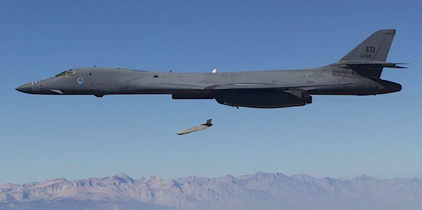 The new long-range JASSM-ER standoff cruise missile is already operational on the B-1 bombers (seen here in 2014 drop-test) and will be added to nearly all bombers and fighter-bombers. A sea-based version will also have land-attack capabilities. A shorter-range version (AGM-158A) is being sold to European and Pacific allies.