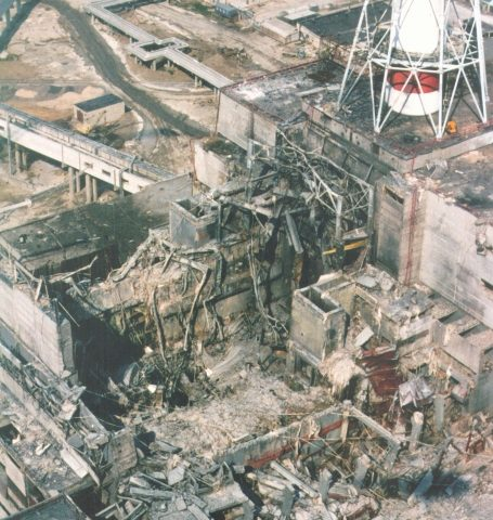 Chernobyl 4 reactor after the accident.  Photo by Ukrainian Authorities