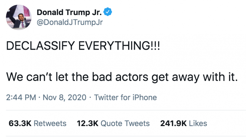 "Trump Jr: ""Declassify Everything!!!"""