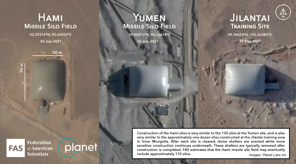 Missile silo field build by China recently