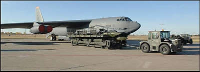 Advanced Cruise Missile loading on B-52H bomber at Minot Air Force Base