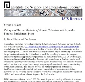 ISIS published a report on November 30 criticizing FAS' Bulletin article